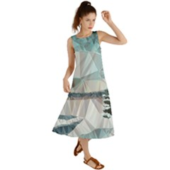 Winter Landscape Low Poly Polygons Summer Maxi Dress