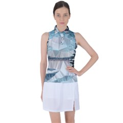 Winter Landscape Low Poly Polygons Women s Sleeveless Polo Tee by HermanTelo