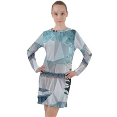 Winter Landscape Low Poly Polygons Long Sleeve Hoodie Dress