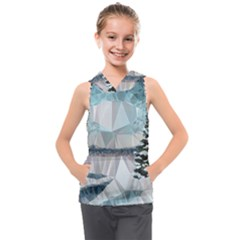 Winter Landscape Low Poly Polygons Kids  Sleeveless Hoodie