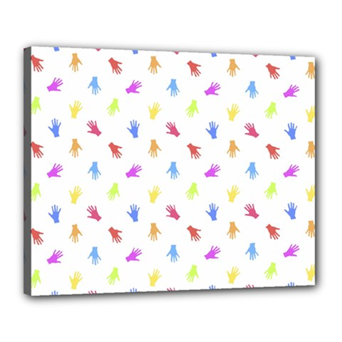 Multicolored Hands Silhouette Motif Design Canvas 20  X 16  (stretched) by dflcprintsclothing