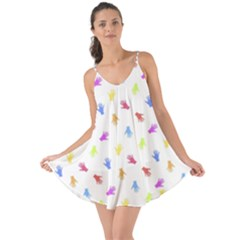 Multicolored Hands Silhouette Motif Design Love The Sun Cover Up