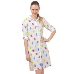 Multicolored Hands Silhouette Motif Design Long Sleeve Mini Shirt Dress by dflcprintsclothing