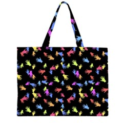 Multicolored Hands Silhouette Motif Design Zipper Large Tote Bag by dflcprintsclothing