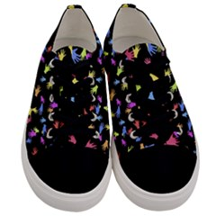 Multicolored Hands Silhouette Motif Design Men s Low Top Canvas Sneakers