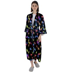 Multicolored Hands Silhouette Motif Design Maxi Satin Kimono by dflcprintsclothing