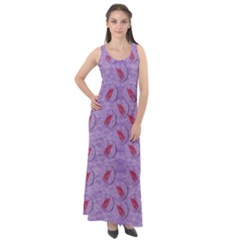 Tropical Flower Forest Of Ornate Colors Sleeveless Velour Maxi Dress