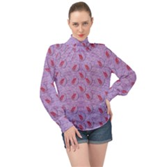 Tropical Flower Forest Of Ornate Colors High Neck Long Sleeve Chiffon Top
