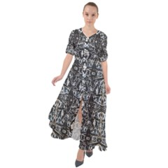 Modern Tribal Geometric Print Waist Tie Boho Maxi Dress