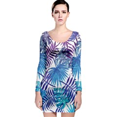 Blue Tropical Leaves Long Sleeve Bodycon Dress by goljakoff