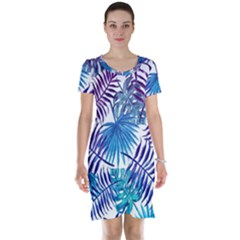 Blue Tropical Leaves Short Sleeve Nightdress by goljakoff
