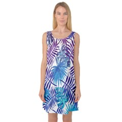 Blue Tropical Leaves Sleeveless Satin Nightdress by goljakoff