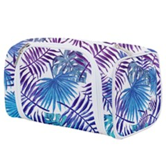 Blue Tropical Leaves Toiletries Pouch by goljakoff