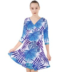 Blue Tropical Leaves Quarter Sleeve Front Wrap Dress