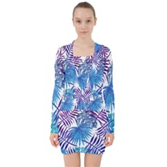 Blue Tropical Leaves V-neck Bodycon Long Sleeve Dress by goljakoff