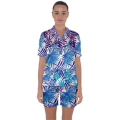 Blue Tropical Leaves Satin Short Sleeve Pyjamas Set by goljakoff