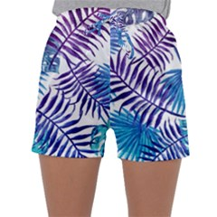 Blue Tropical Leaves Sleepwear Shorts by goljakoff