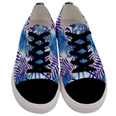 Blue Tropical Leaves Men s Low Top Canvas Sneakers