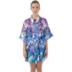 Blue Tropical Leaves Half Sleeve Satin Kimono  by goljakoff