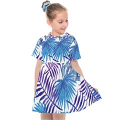 Blue Tropical Leaves Kids  Sailor Dress by goljakoff