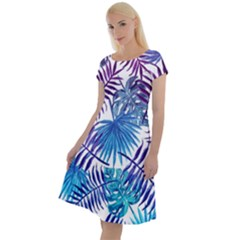Blue Tropical Leaves Classic Short Sleeve Dress by goljakoff
