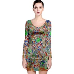 Pop Art - Spirals World 1 Long Sleeve Bodycon Dress by EDDArt
