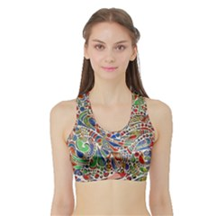 Pop Art - Spirals World 1 Sports Bra With Border by EDDArt