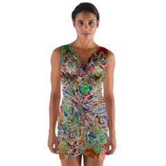 Pop Art - Spirals World 1 Wrap Front Bodycon Dress by EDDArt