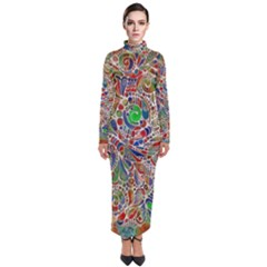 Pop Art - Spirals World 1 Turtleneck Maxi Dress by EDDArt