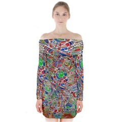 Pop Art - Spirals World 1 Long Sleeve Off Shoulder Dress by EDDArt