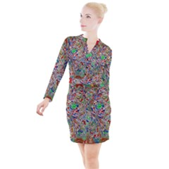 Pop Art - Spirals World 1 Button Long Sleeve Dress by EDDArt