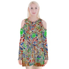 Pop Art - Spirals World 1 Velvet Long Sleeve Shoulder Cutout Dress by EDDArt