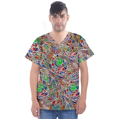 Pop Art - Spirals World 1 Men s V-neck Scrub Top by EDDArt