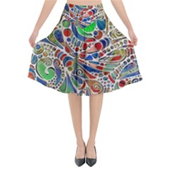 Pop Art - Spirals World 1 Flared Midi Skirt by EDDArt