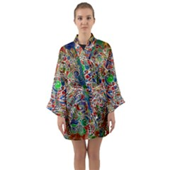 Pop Art - Spirals World 1 Long Sleeve Satin Kimono by EDDArt