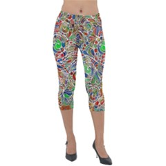 Pop Art - Spirals World 1 Lightweight Velour Capri Leggings  by EDDArt