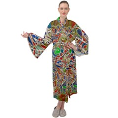 Pop Art - Spirals World 1 Maxi Velour Kimono by EDDArt
