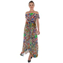 Pop Art - Spirals World 1 Off Shoulder Open Front Chiffon Dress by EDDArt