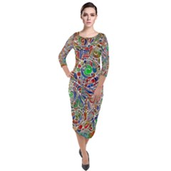 Pop Art - Spirals World 1 Quarter Sleeve Midi Velour Bodycon Dress by EDDArt
