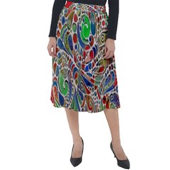 Pop Art - Spirals World 1 Classic Velour Midi Skirt  by EDDArt