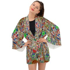 Pop Art - Spirals World 1 Long Sleeve Kimono by EDDArt