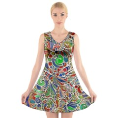 Pop Art - Spirals World 1 V-neck Sleeveless Dress by EDDArt