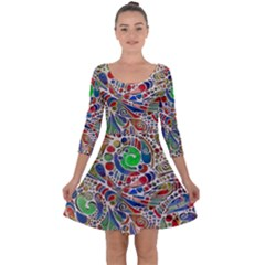 Pop Art - Spirals World 1 Quarter Sleeve Skater Dress by EDDArt