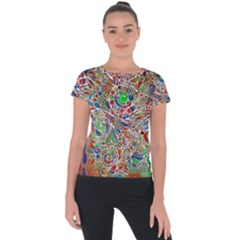 Pop Art - Spirals World 1 Short Sleeve Sports Top  by EDDArt