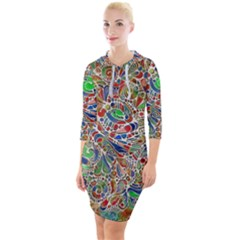 Pop Art - Spirals World 1 Quarter Sleeve Hood Bodycon Dress by EDDArt