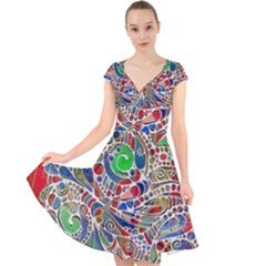 Pop Art - Spirals World 1 Cap Sleeve Front Wrap Midi Dress by EDDArt