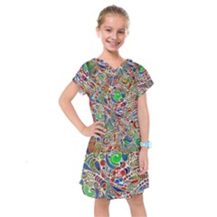 Pop Art - Spirals World 1 Kids  Drop Waist Dress by EDDArt