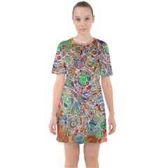 Pop Art - Spirals World 1 Sixties Short Sleeve Mini Dress by EDDArt