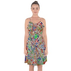 Pop Art - Spirals World 1 Ruffle Detail Chiffon Dress by EDDArt
