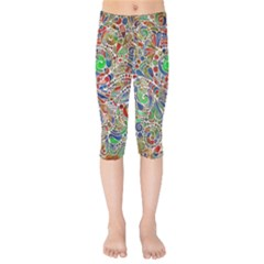 Pop Art - Spirals World 1 Kids  Capri Leggings  by EDDArt